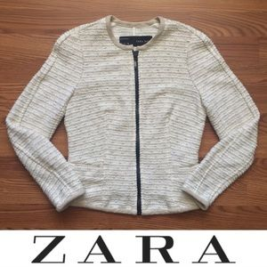 Zara • Tweed Cropped Full Zip Sweater Blazer Coat